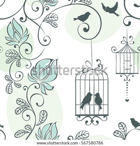 Wedding seamless pattern, vector illustration with flowers and birds