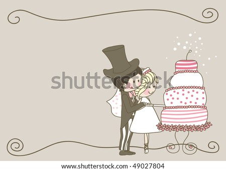 wedding set - couple cutting yummy wedding cake - stock vector