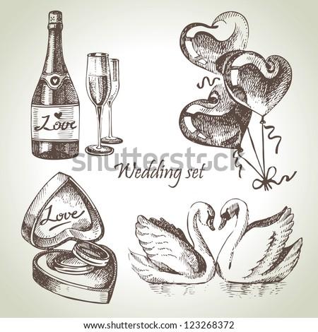 Wedding set. Hand drawn illustration - stock vector