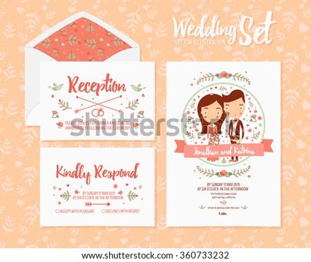Cartoon passport wedding invitation card design stock vector wedding set invitation from 3 vector illustration cards template reception kindly respond and wedding stopboris Image collections