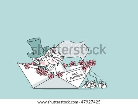wedding set - just married - stock vector