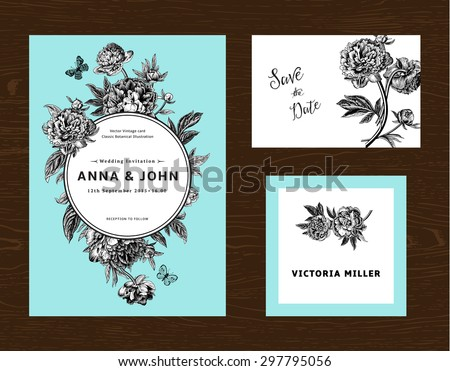 Wedding set. Menu, save the date, guest card. Black and white flowers peonies on mint background. Vintage vector illustration. - stock vector