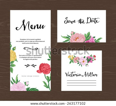 Wedding set. Menu, save the date, guest card. Colorful flowers peonies and roses. Vintage vector illustration.