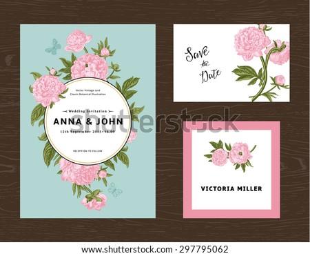 Wedding set. Menu, save the date, guest card. Pink flowers peonies. Vintage vector illustration. - stock vector