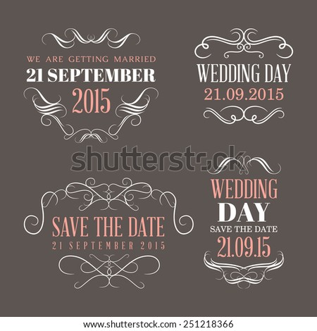 Wedding set of label, badges, stamp and design elements - stock vector