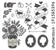Wedding set of vintage design elements. Vector illustration. - stock vector