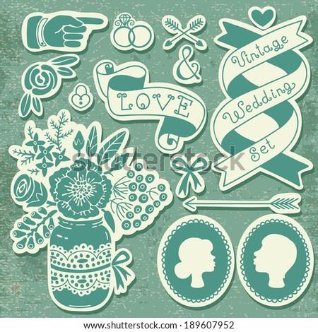 Wedding set of vintage design elements. Vector illustration. - stock vector