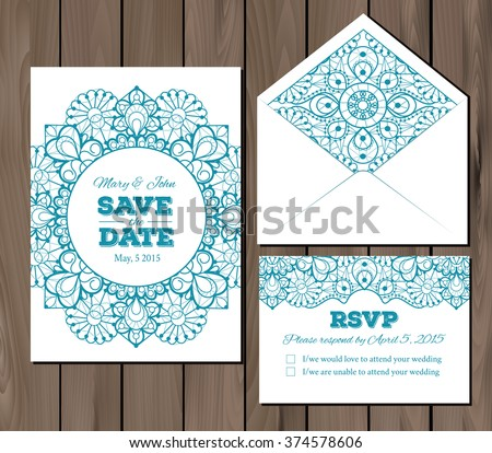 Wedding set with lace elements. Save the date invitation, RSVP card, envelope template. Seamless illustrator swatch for background included. Free fonts used - Nexa Rust, Alex Brush, Crimson - stock vector