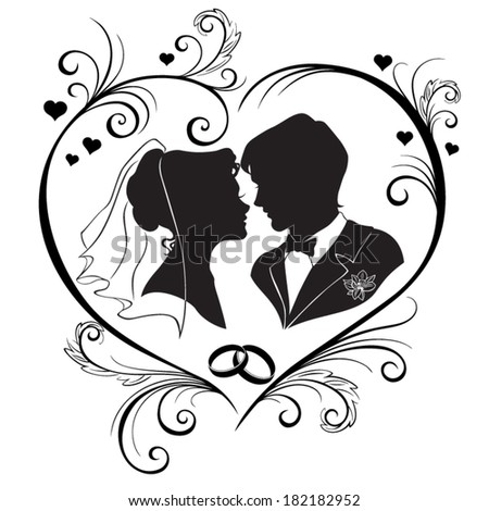 Wedding silhouettes in the hear frame isolated on white background. Vector Illustration  - stock vector