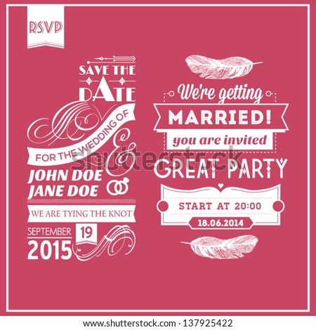 Wedding stamps pink - stock vector