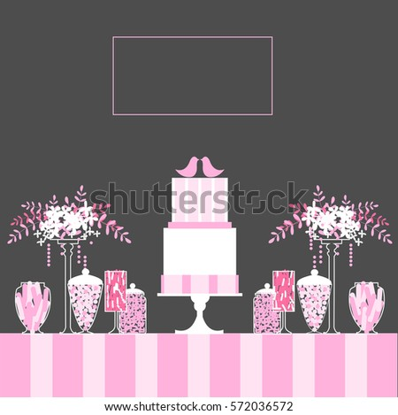 Wedding sweet table candy buffet cake stock vector royalty free wedding sweet table candy buffet with cake and flowers wedding cake with birds watchthetrailerfo