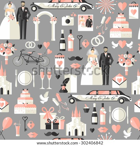 Wedding symbols set. Flat icons for your wedding design.Seamless pattern. - stock vector