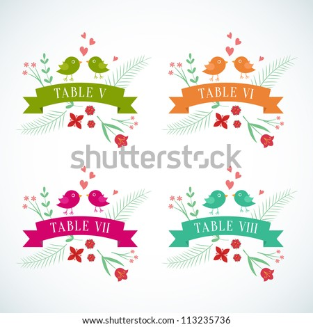 Wedding table number card - stock vector