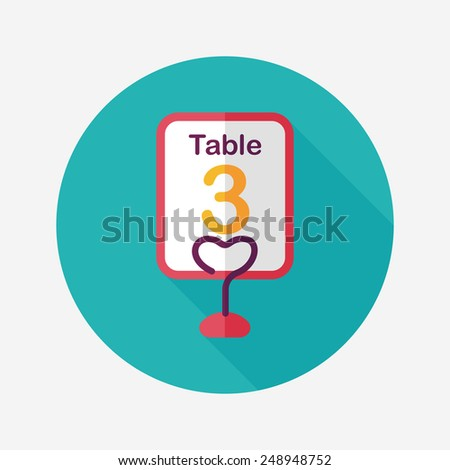 wedding table sign flat icon with long shadow,eps10 - stock vector