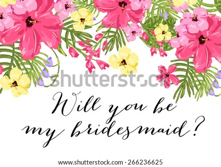 Will You Be My Bridesmaid Template   Wedding Template Invitation Featuring Words Will Stock Vektorgrafik
