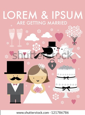 wedding template vector/illustration - stock vector