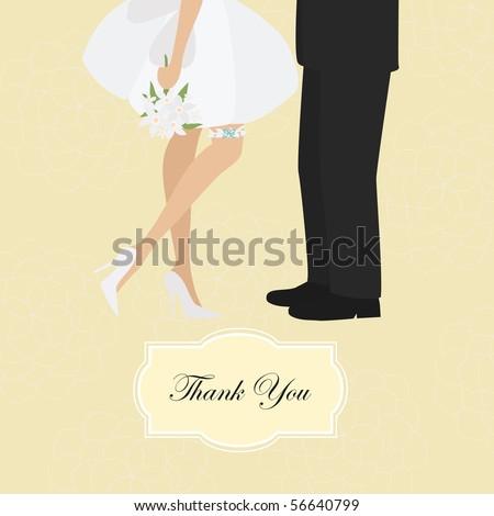 Wedding thank you card - stock vector