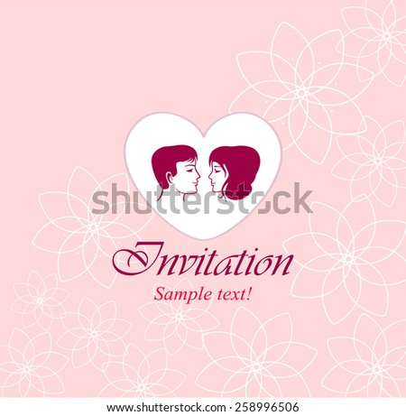 Wedding. Vector festive wedding invitation card on a pink background with flowers - stock vector