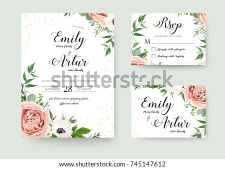 Wedding vector floral invite invitation thank you, rsvp card watercolor design set: garden flower pink peach Rose white Anemone green leaves elegant greenery & golden glitter. Decorative modern layout