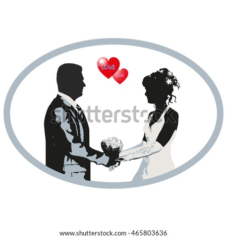 Wedding vector illustration - silhouette of bride and groom