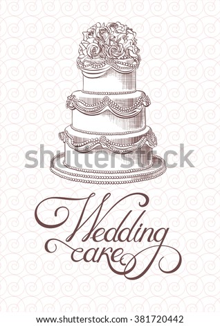 Wedding vintage cake vector - stock vector
