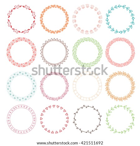 Wedding vintage elements collection. Romantic hand drawn floral frames set with flowers and leaves.  - stock vector