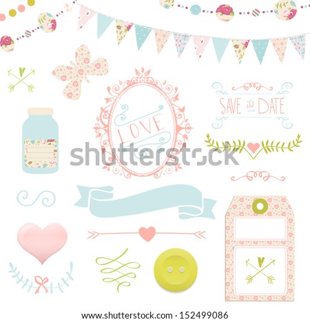 Wedding Vintage Invitation Collection in vector.  For design or scrapbook - stock vector