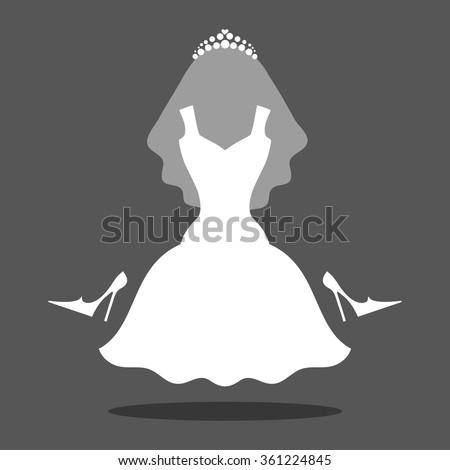 wedding white dress iconfashion logo templatemodern stock vector 361224845 shutterstock. Black Bedroom Furniture Sets. Home Design Ideas