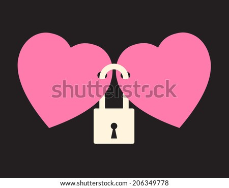 wedlock two hearts locked lock stock vector royalty free 206349778