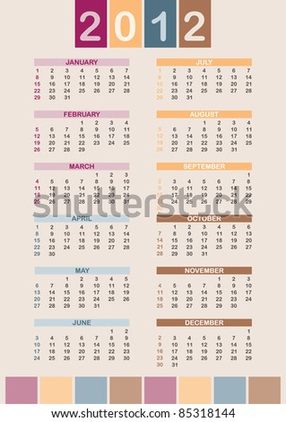 Week starts on SUN; global colors - stock vector