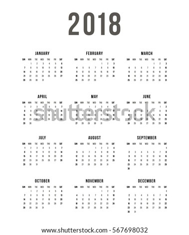 Week Starts Sunday. Simple Vector Template Calendar 2018 On White Background.