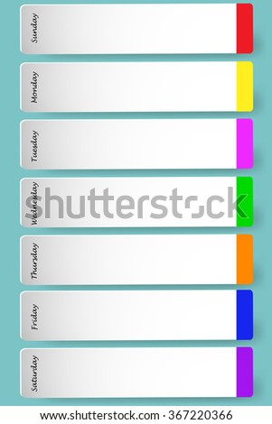 Weekly calendar with space for notes. Single days are marked by their color. - stock vector