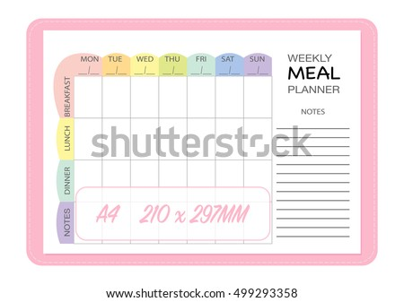 Weekly Meal Planner Insert Template, Menu List Blank Template Notebook  Page, Meal Planning Organizer  Menu For The Week Template