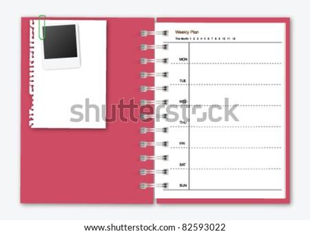 Weekly Notebook - stock vector