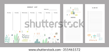 Weekly Planner Template. Organizer and Schedule with Notes and To Do List. Vector. Isolated - stock vector