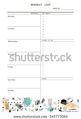 Weekly Planner Template. Organizer and Schedule with place for Notes, Goals and To Do List. Template design. Vector. Isolated - stock vector