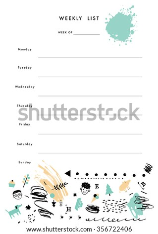 Weekly Planner Template. Organizer and Schedule with place for Notes, Goals and To Do List. Vector. Isolated - stock vector