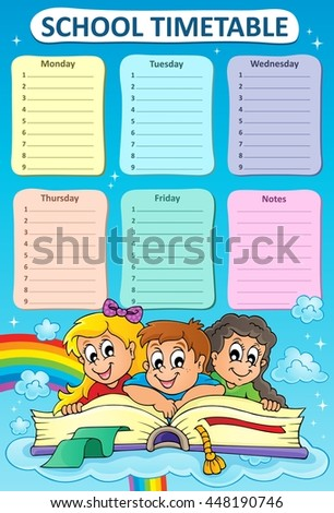 Weekly school timetable topic 5 - eps10 vector illustration.