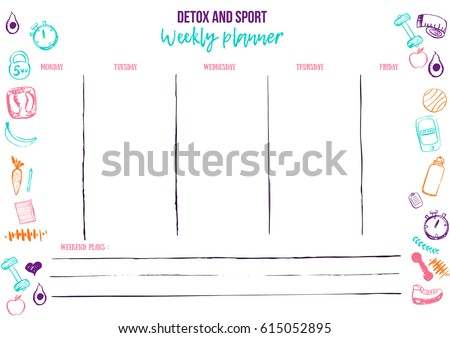 weekly sport planner template for daily fitness activity organizer with to do list and doodle