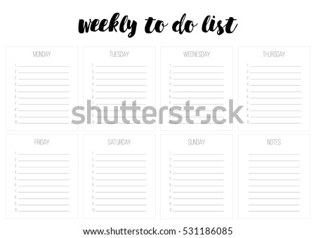 Weekly Do List Vector Template Blank Stock Vector