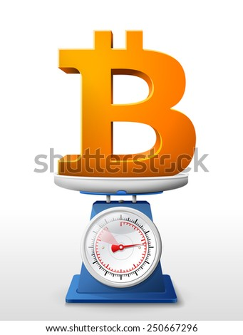 Weighing money symbol on scales. Qualitative vector illustration for banking, financial industry, cryptocurrency, economy, accounting, etc. It has transparency, masks, blending modes, gradients - stock vector