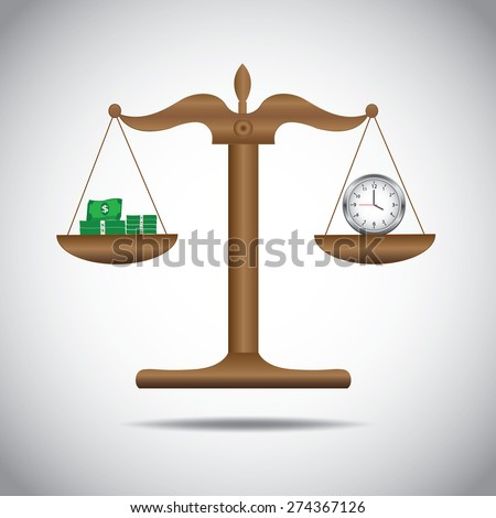 weighing or compare or exchange  money  to time concept  - stock vector