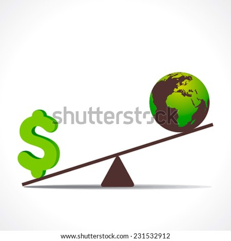 weighing scales with dollar sign and earth isolated on white background  - stock vector