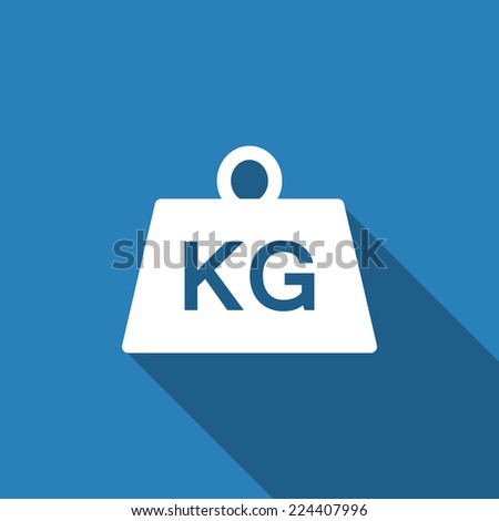weight kilogram icon with long shadow - stock vector