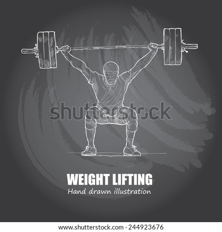 Weight Lifting background Design. Hand drawn. chalkboard. vector. - stock vector