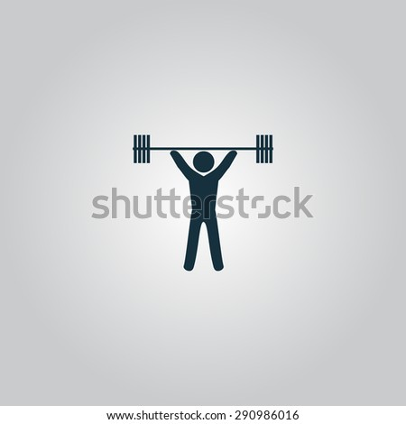 Weight Lifting. Flat web icon or sign isolated on grey background. Collection modern trend concept design style vector illustration symbol - stock vector