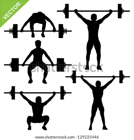 Weight-lifting silhouettes vector - stock vector