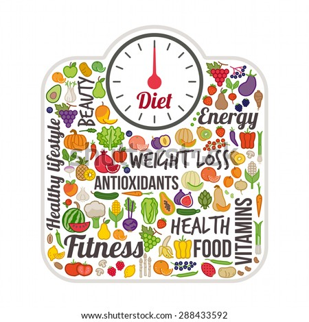 Weight loss and healthy eating concept, scale and vegetables colorful icons set - stock vector
