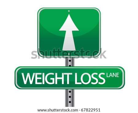 Weight loss green sign isolated over a white background.