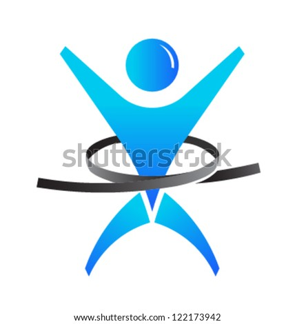 Weight loss man - stock vector